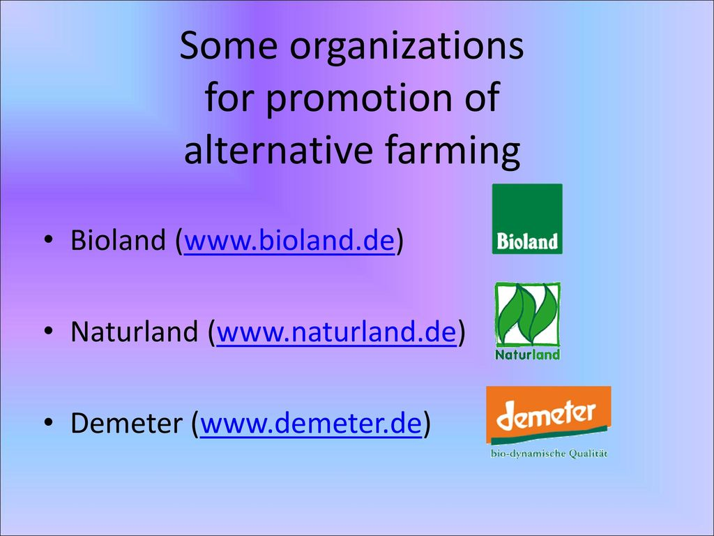 Some organizations for promotion of alternative farming