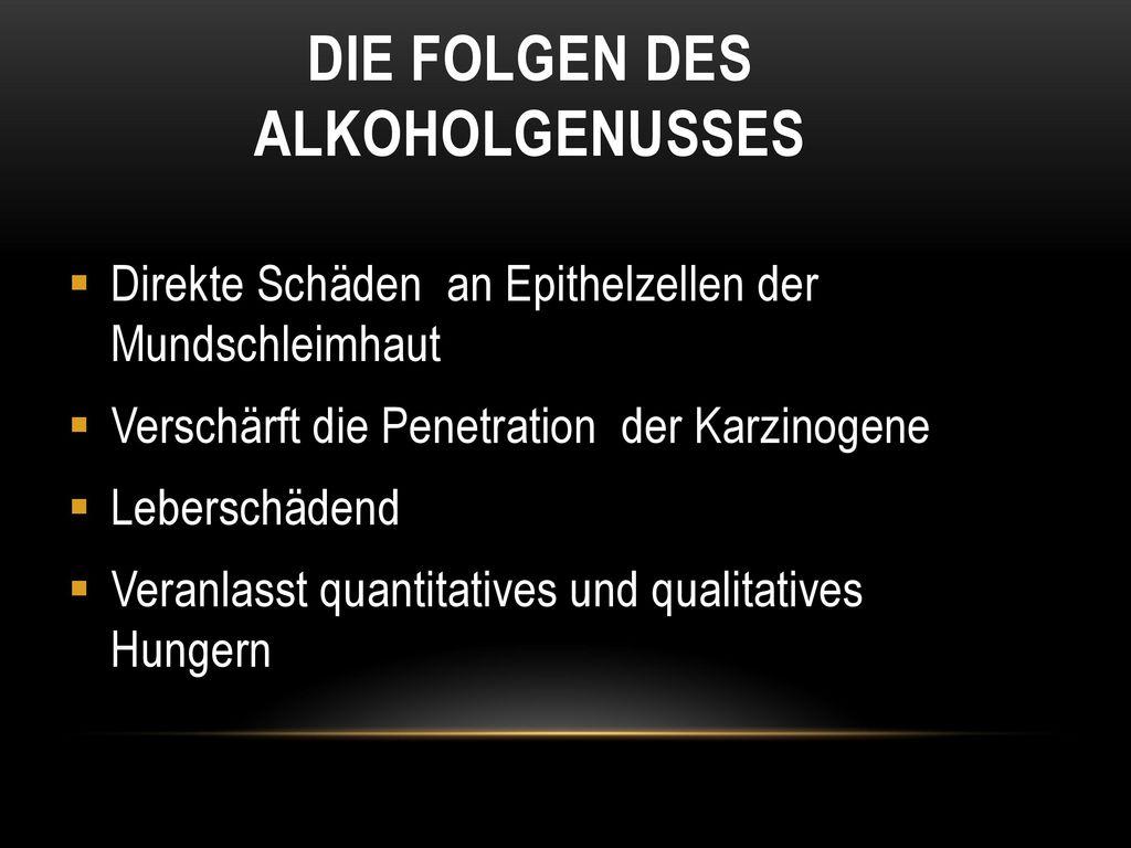 Die Folgen des Alkoholgenusses