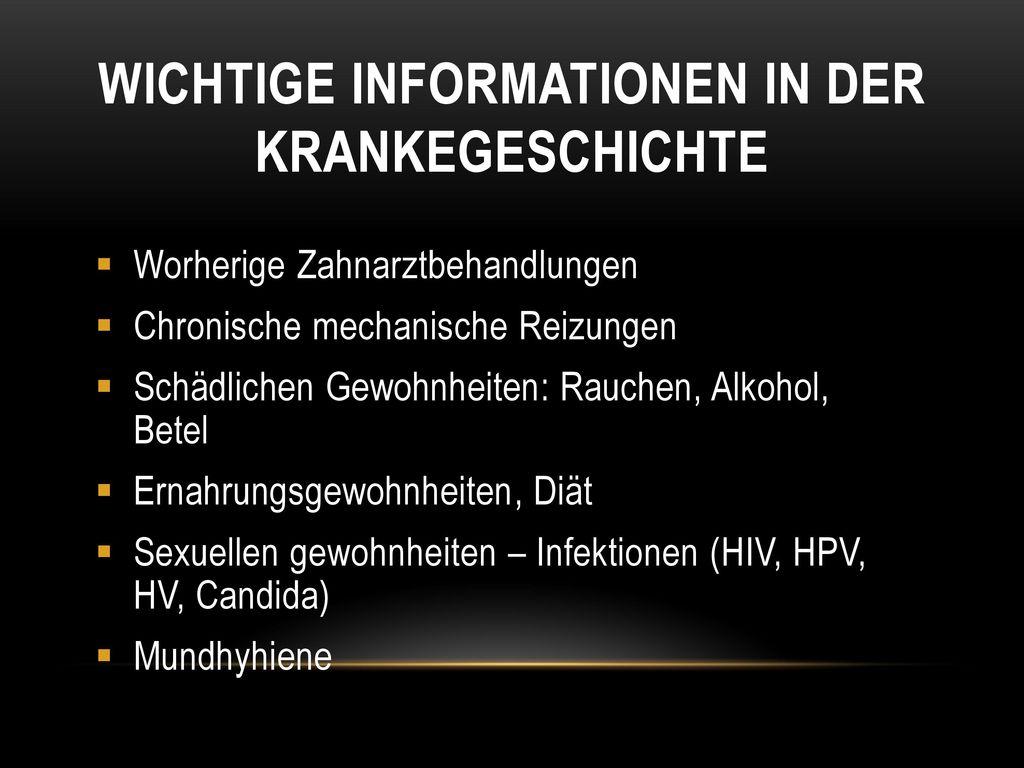Wichtige Informationen in der krankegeschichte