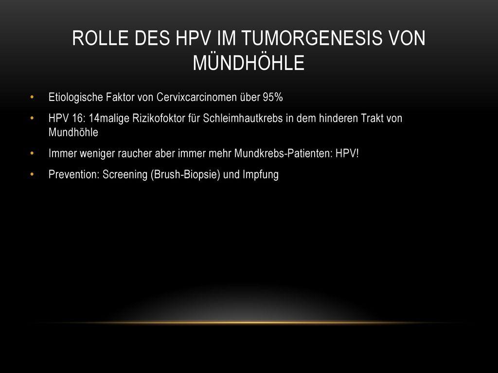 Rolle des HPV im Tumorgenesis von Mündhöhle