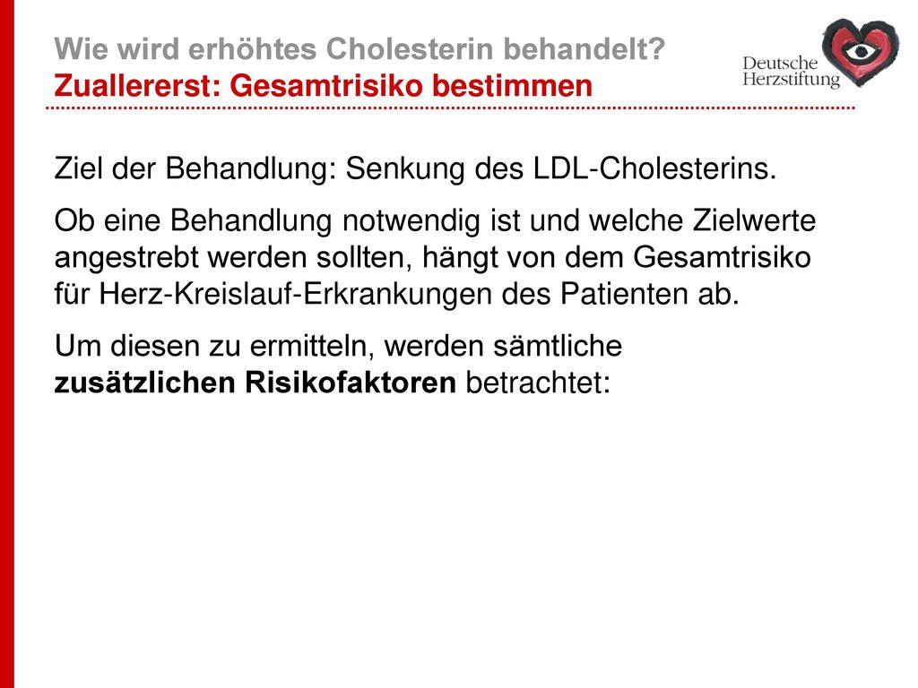 Wie wird erhöhtes Cholesterin behandelt