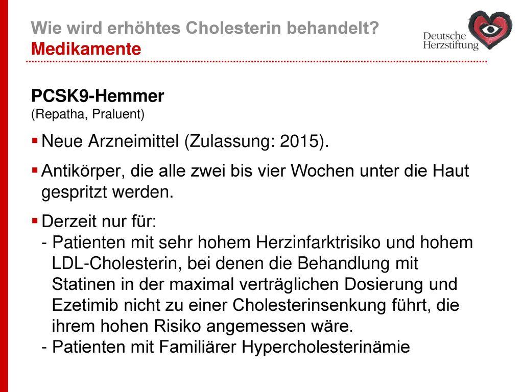 Wie wird erhöhtes Cholesterin behandelt Medikamente