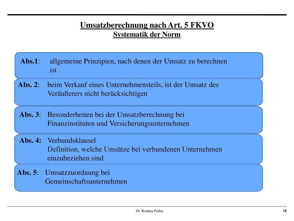 Umsatzberechnung nach Art. 5 FKVO Systematik der Norm