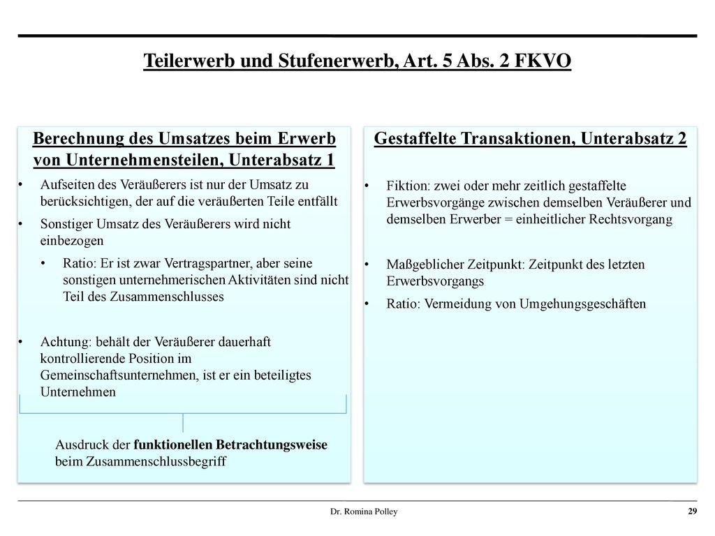 Teilerwerb und Stufenerwerb, Art. 5 Abs. 2 FKVO