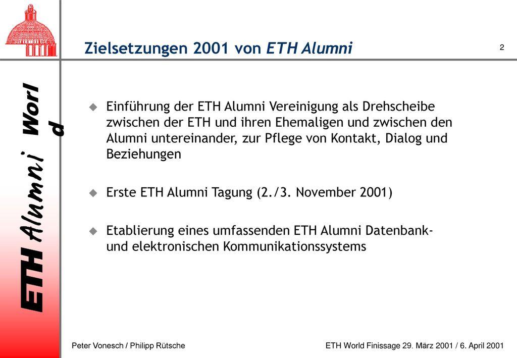 Zielsetzungen 2001 von ETH Alumni