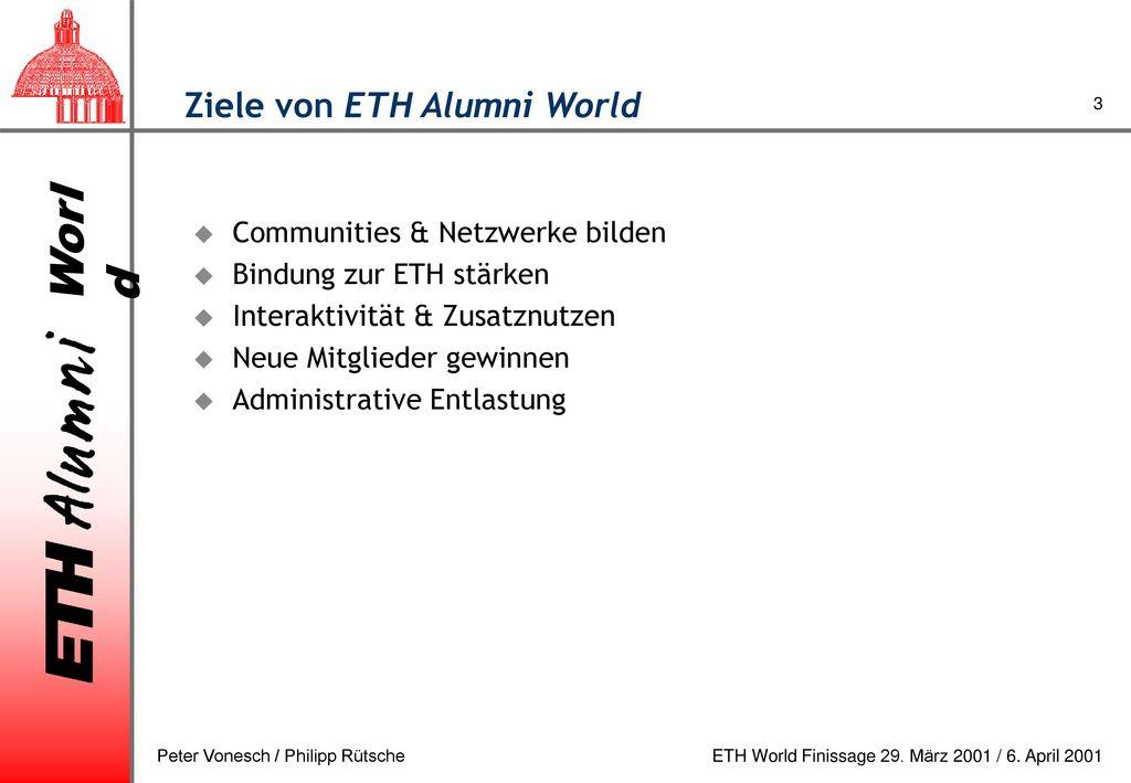 Ziele von ETH Alumni World