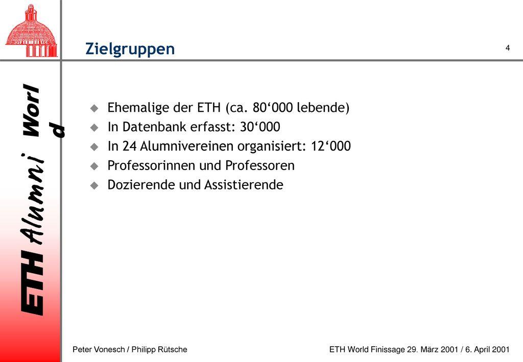 Zielgruppen Ehemalige der ETH (ca. 80'000 lebende)