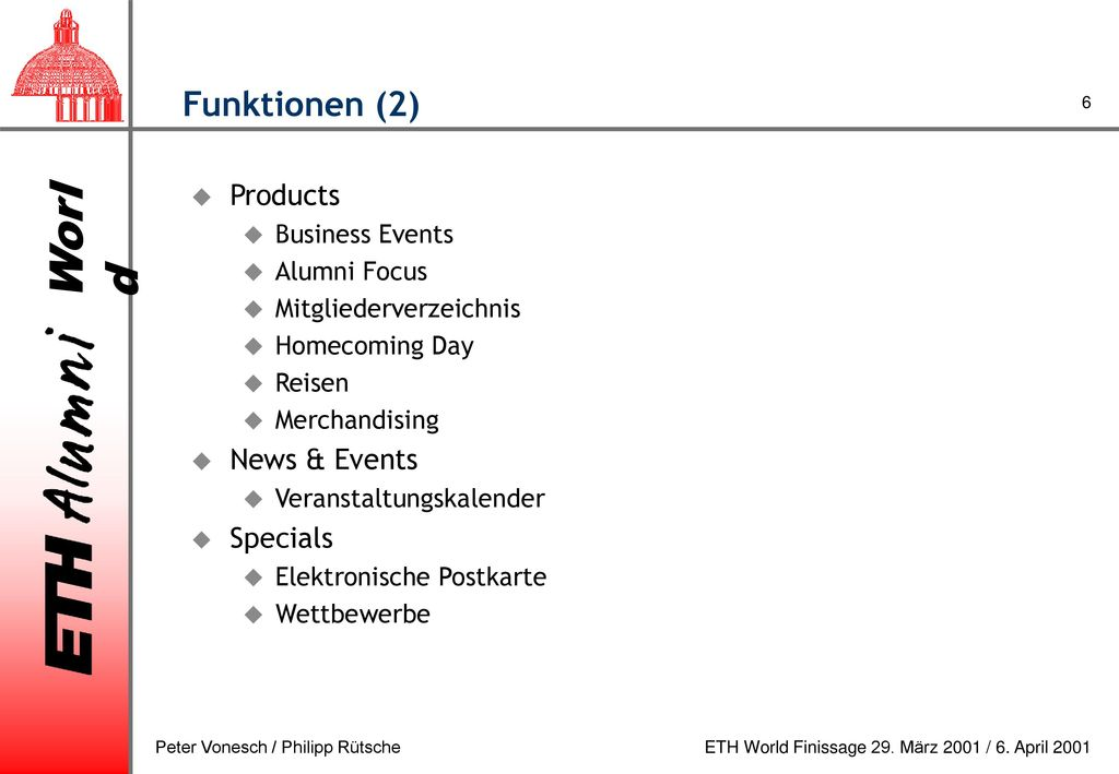 Funktionen (2) Products News & Events Specials Business Events