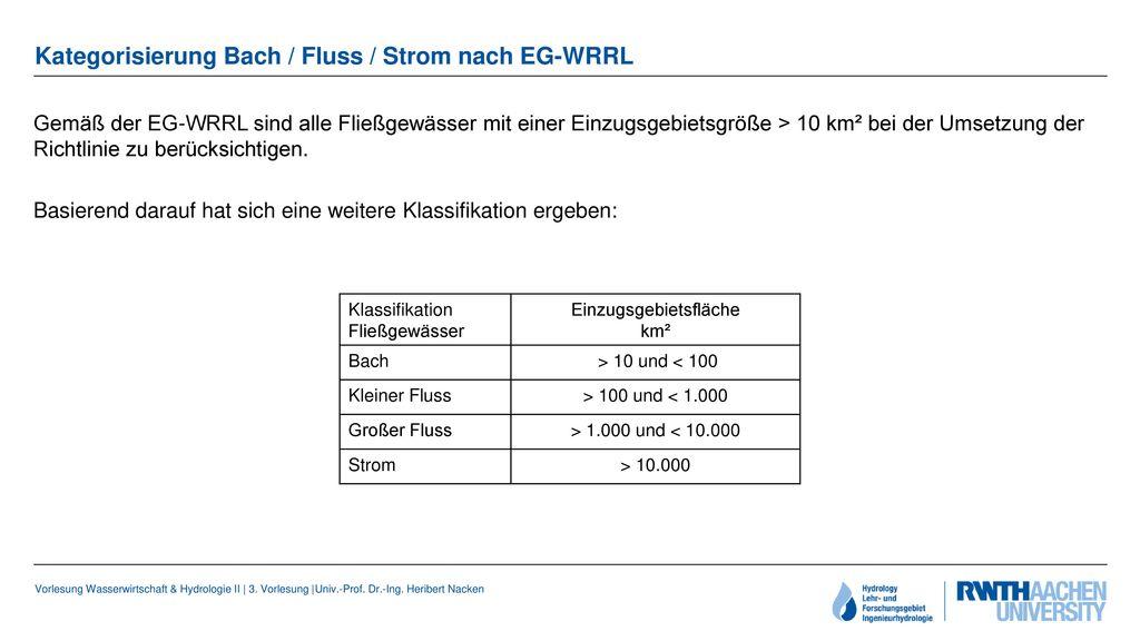 Kategorisierung Bach / Fluss / Strom nach EG-WRRL
