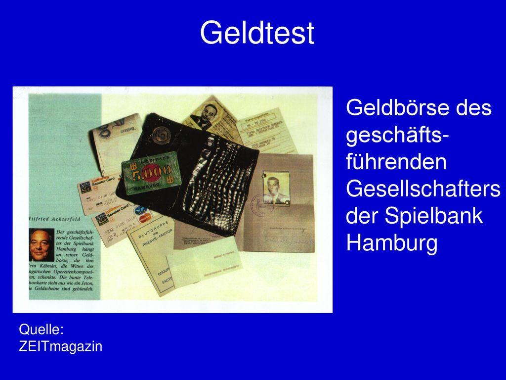 Geldtest Geldbörse des geschäfts-führenden Gesellschafters der Spielbank Hamburg.