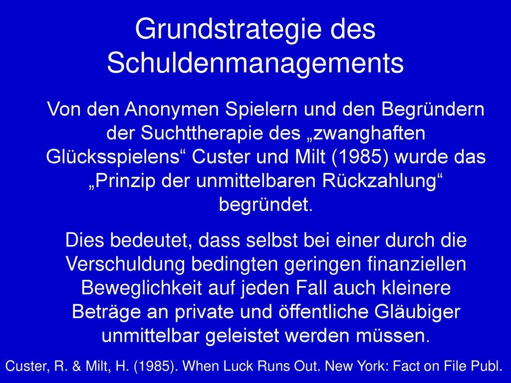 Grundstrategie des Schuldenmanagements