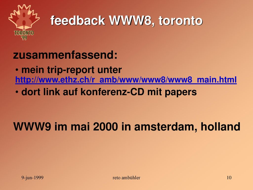 WWW9 im mai 2000 in amsterdam, holland