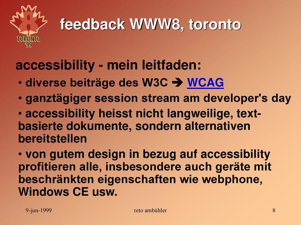 feedback WWW8, toronto accessibility - mein leitfaden: