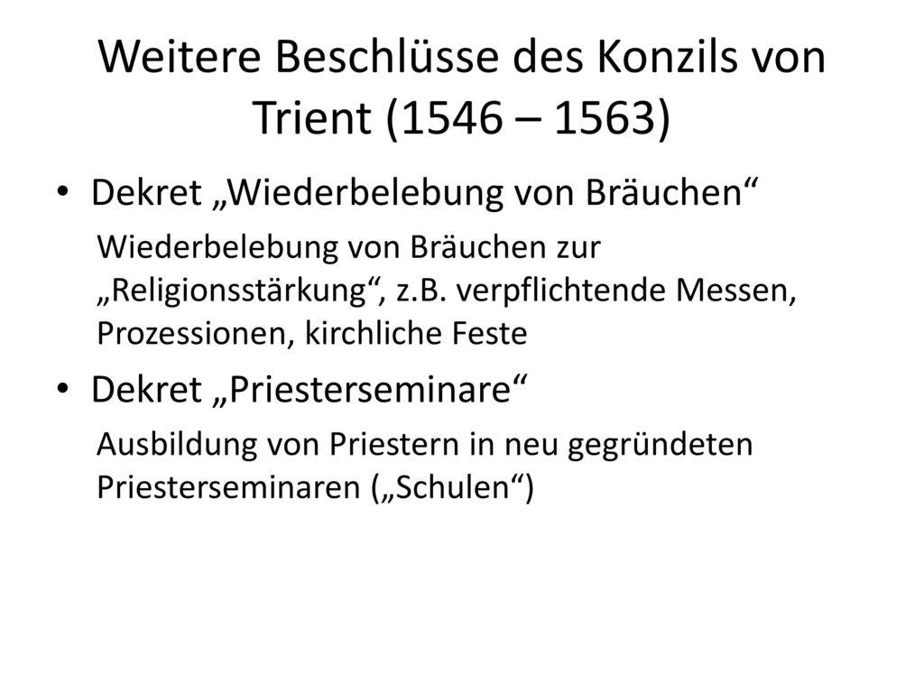 Weitere Beschlüsse des Konzils von Trient (1546 – 1563)