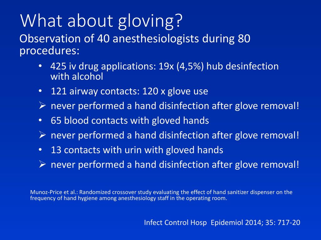 What about gloving Observation of 40 anesthesiologists during 80 procedures: 425 iv drug applications: 19x (4,5%) hub desinfection with alcohol.