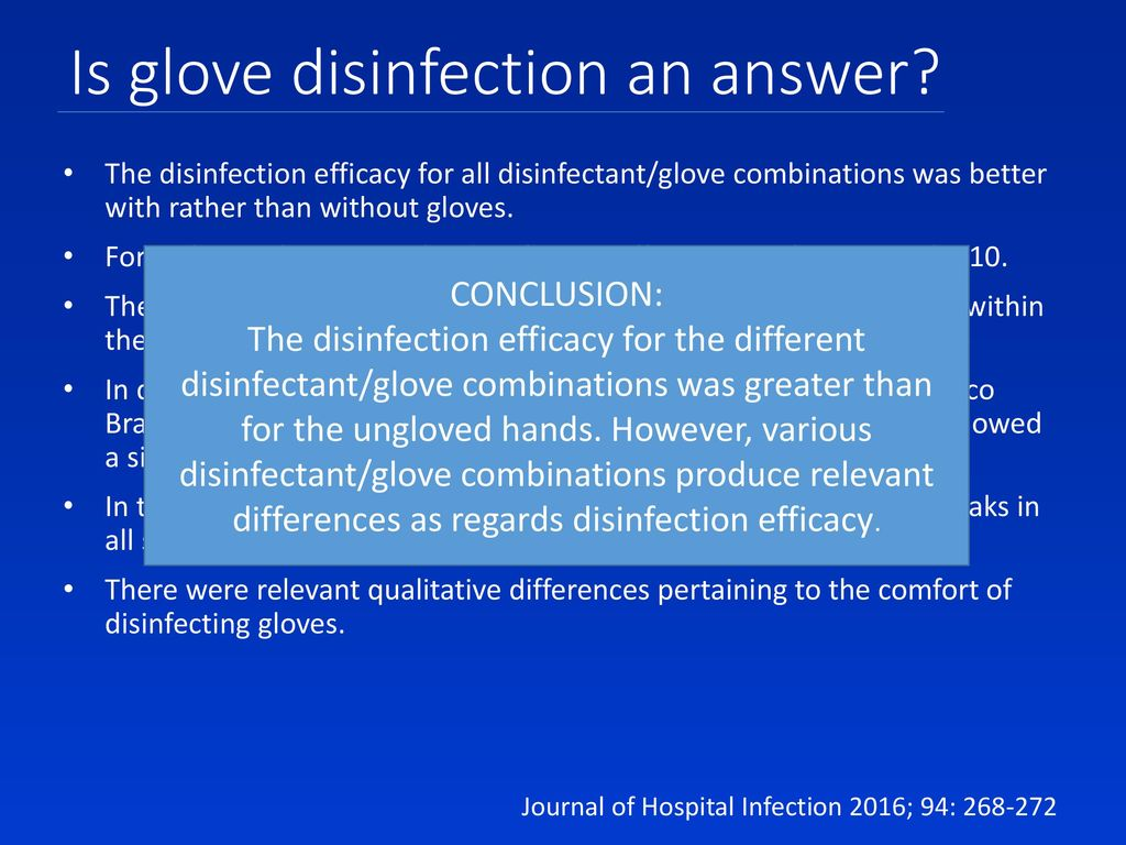 Is glove disinfection an answer