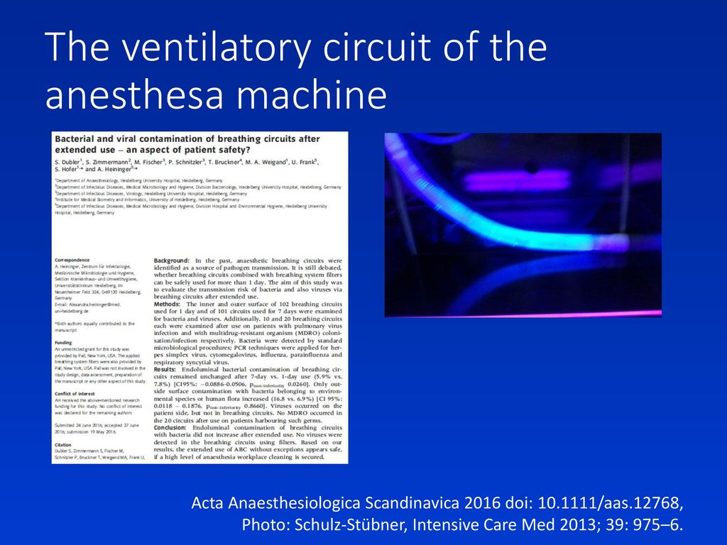 The ventilatory circuit of the anesthesa machine