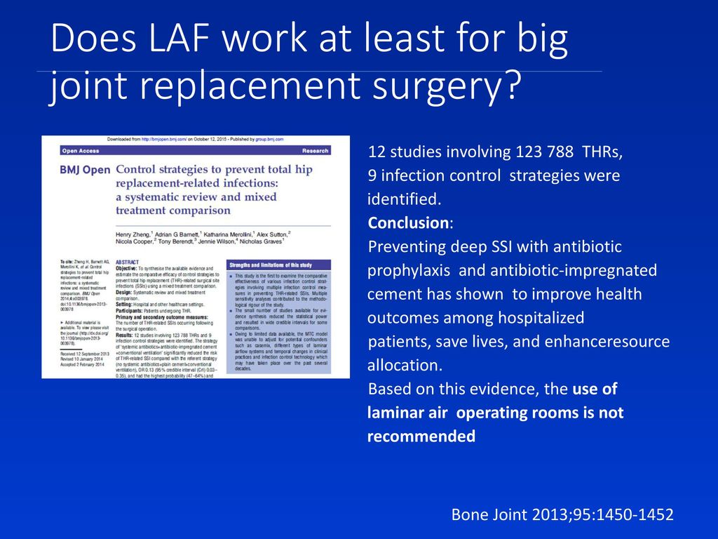 Does LAF work at least for big joint replacement surgery