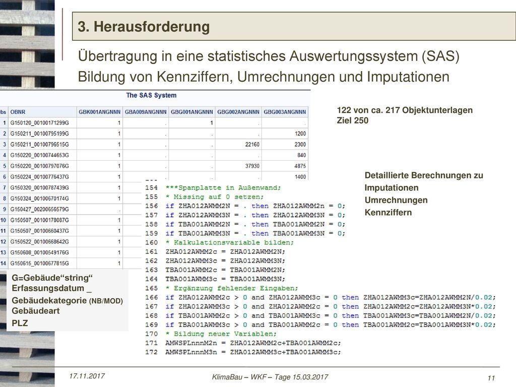 Übertragung in eine statistisches Auswertungssystem (SAS)