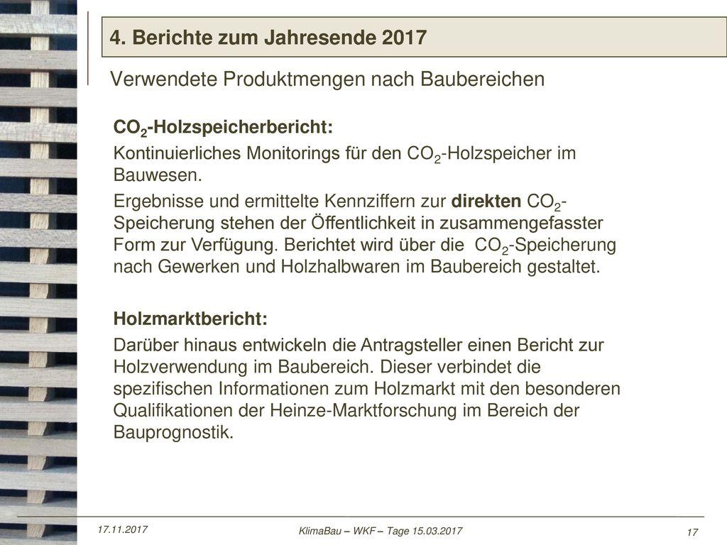 4. Berichte zum Jahresende 2017