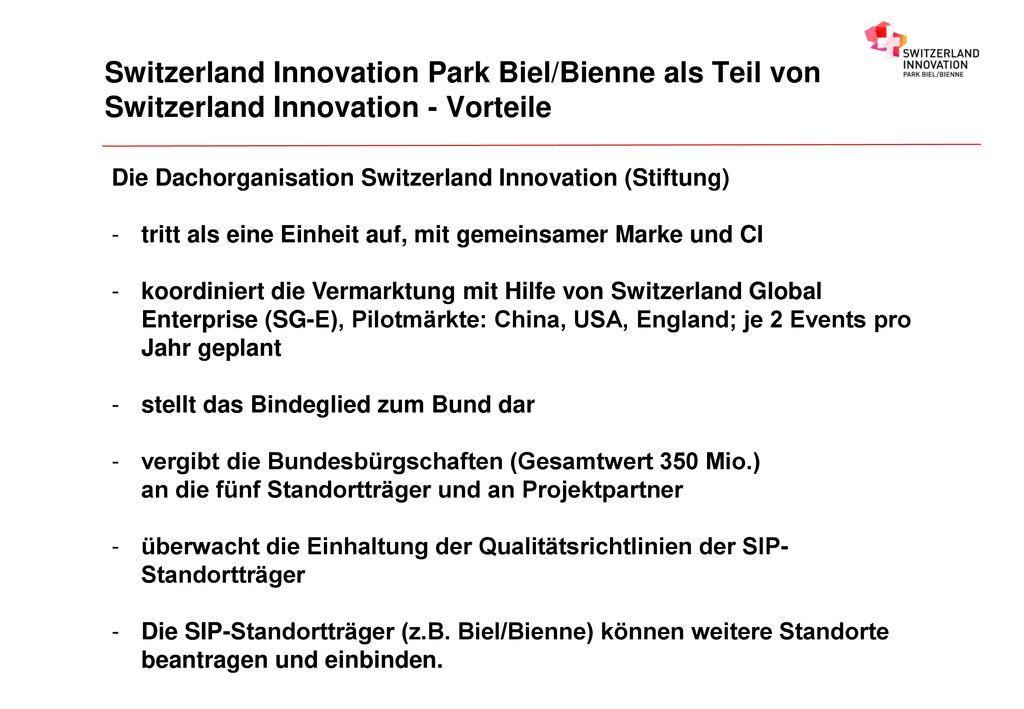 Switzerland Innovation Park Biel/Bienne als Teil von