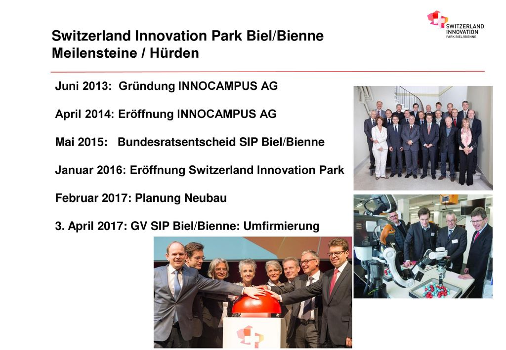 Switzerland Innovation Park Biel/Bienne Meilensteine / Hürden