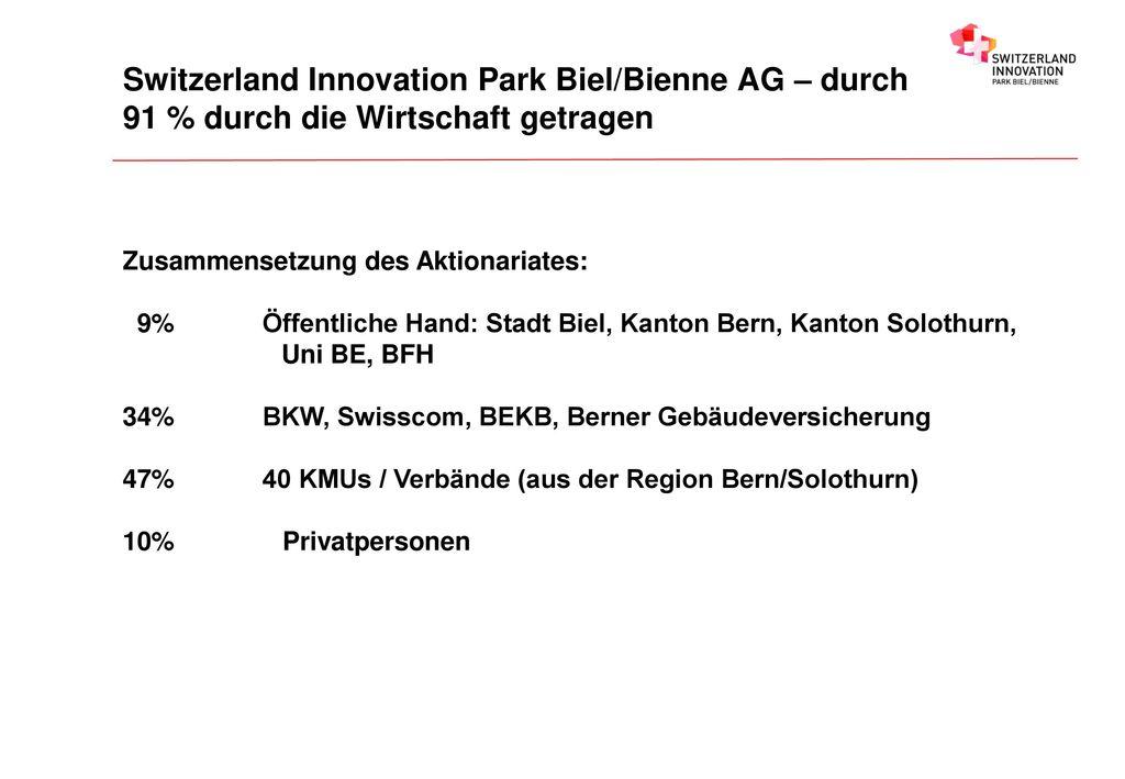 Switzerland Innovation Park Biel/Bienne AG – durch 91 % durch die Wirtschaft getragen