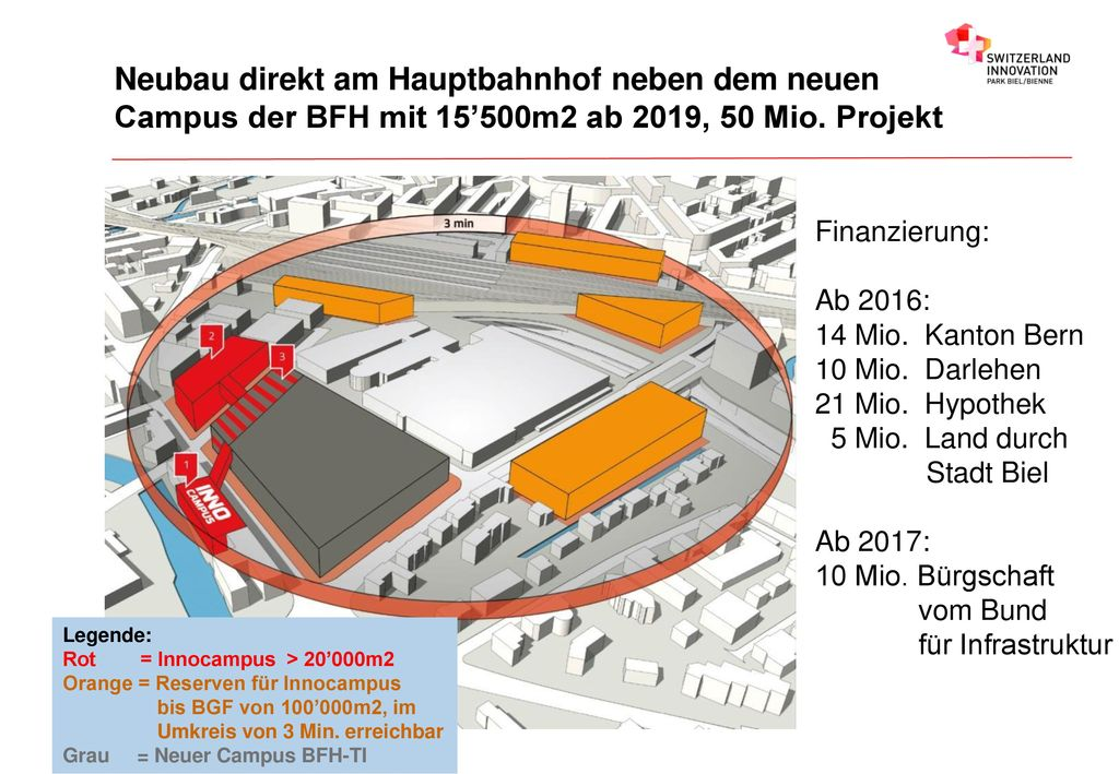 Neubau direkt am Hauptbahnhof neben dem neuen Campus der BFH mit 15'500m2 ab 2019, 50 Mio. Projekt