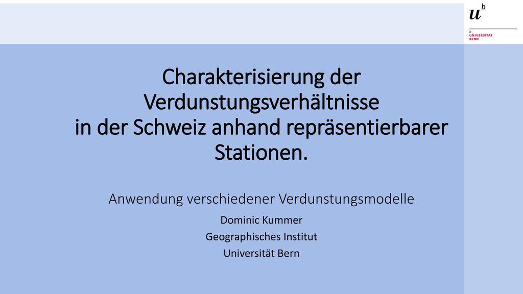 Dominic Kummer Geographisches Institut Universität Bern
