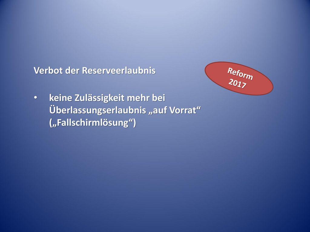 Verbot der Reserveerlaubnis