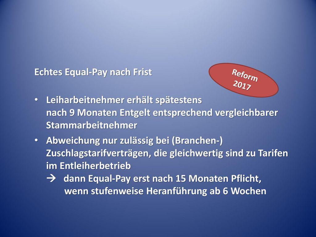 Echtes Equal-Pay nach Frist