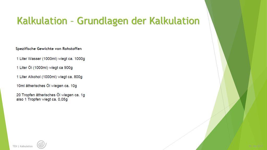 Kalkulation – Grundlagen der Kalkulation