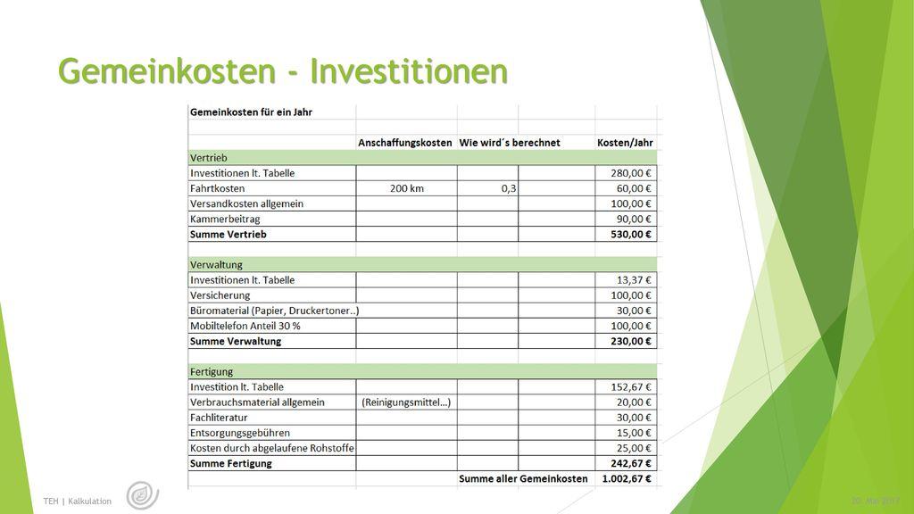 Gemeinkosten - Investitionen