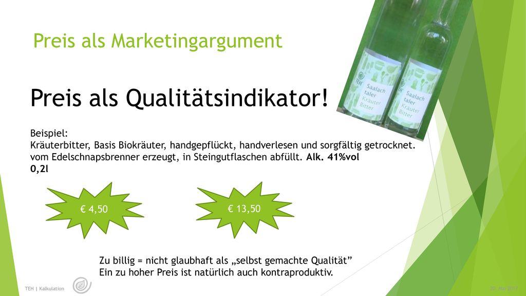 Preis als Marketingargument