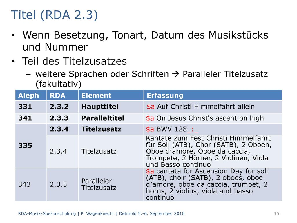Titel (RDA 2.3) Wenn Besetzung, Tonart, Datum des Musikstücks und Nummer. Teil des Titelzusatzes.