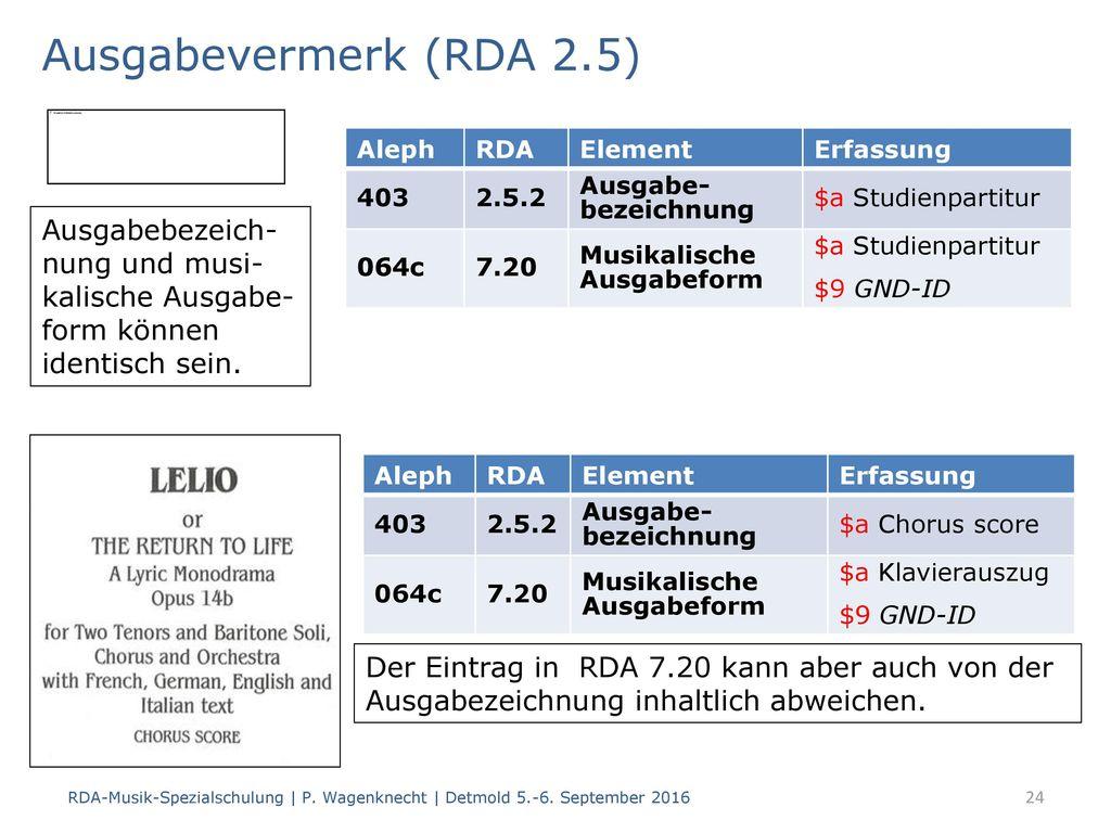 Ausgabevermerk (RDA 2.5) Aleph. RDA. Element. Erfassung. 403. 2.5.2. Ausgabe- bezeichnung. $a Studienpartitur.