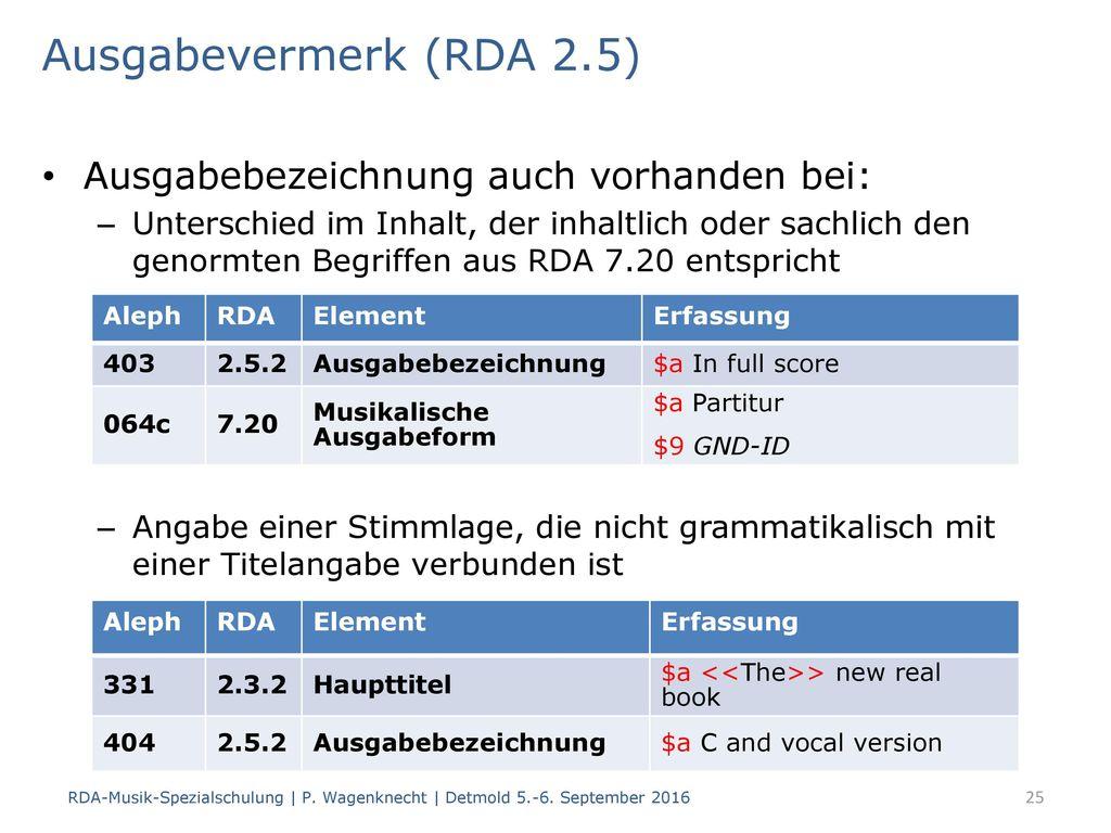 Ausgabevermerk (RDA 2.5) Ausgabebezeichnung auch vorhanden bei: