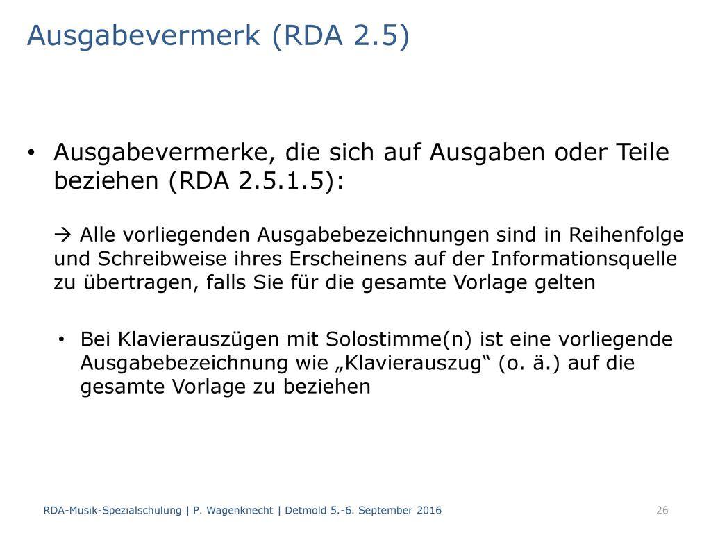 Ausgabevermerk (RDA 2.5)