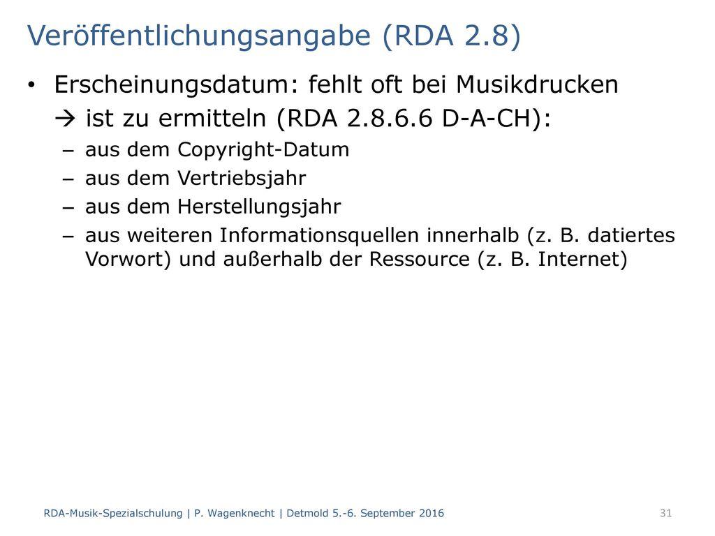 Veröffentlichungsangabe (RDA 2.8)