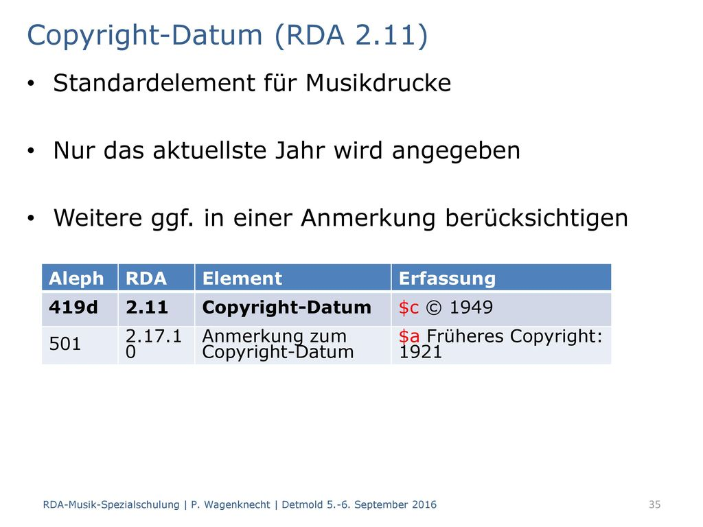 Copyright-Datum (RDA 2.11)