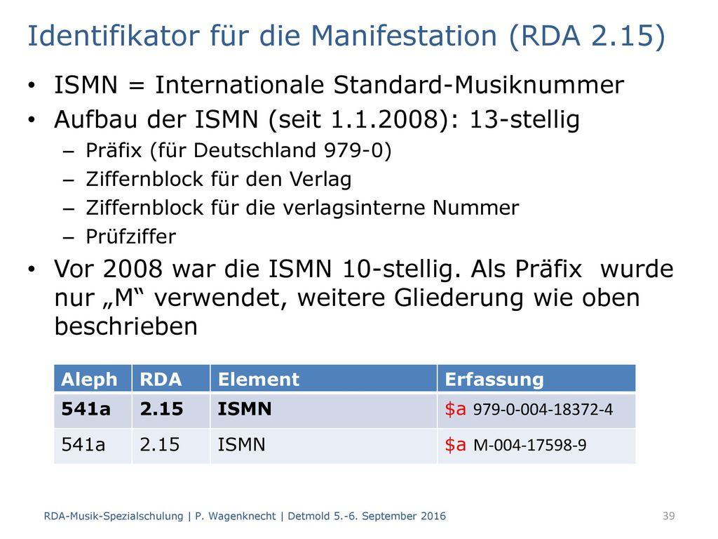 Identifikator für die Manifestation (RDA 2.15)