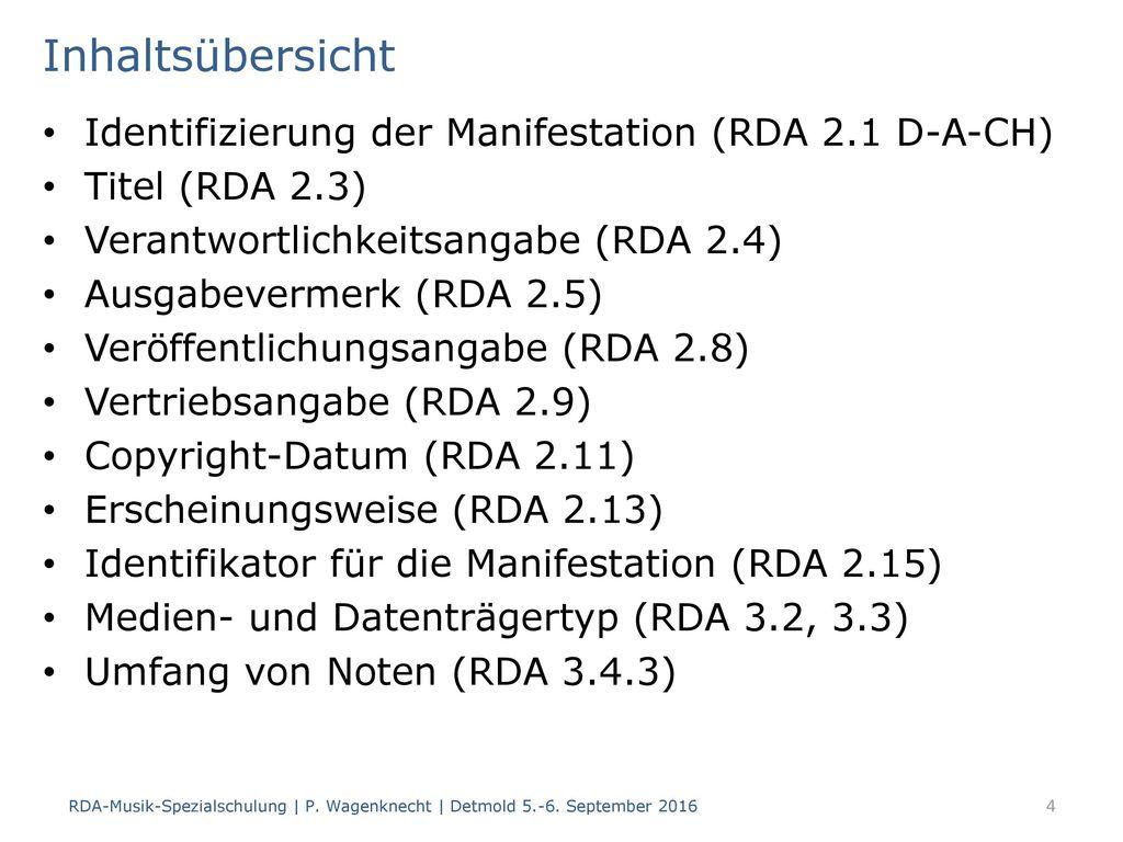 Inhaltsübersicht Identifizierung der Manifestation (RDA 2.1 D-A-CH)
