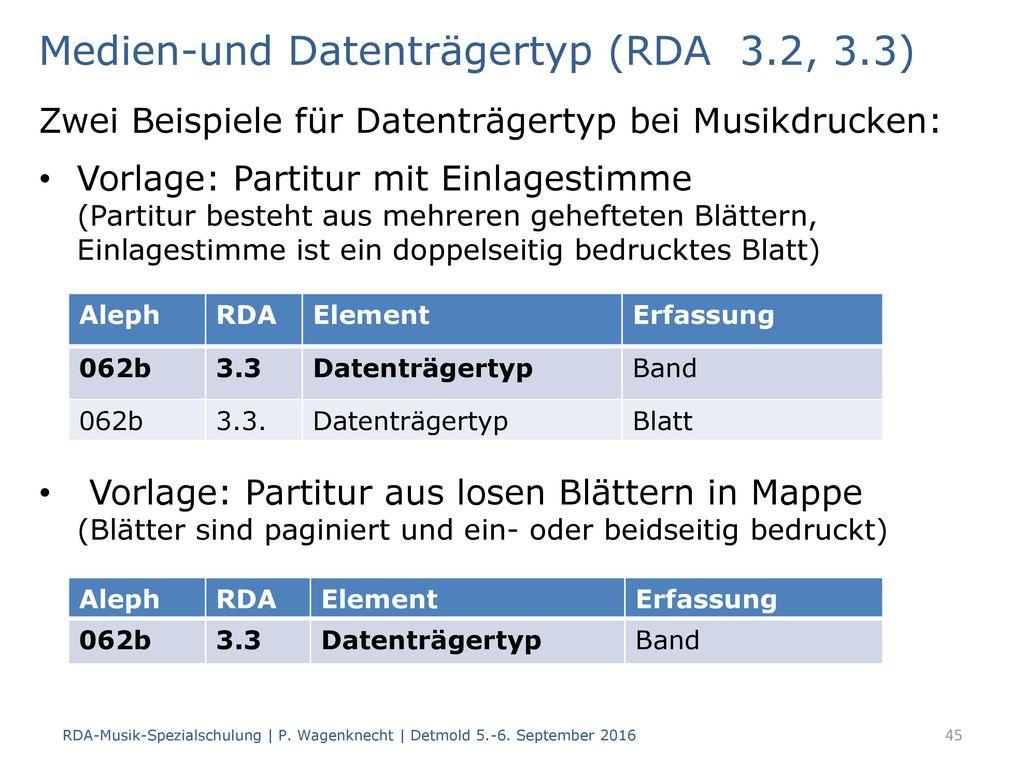Medien-und Datenträgertyp (RDA 3.2, 3.3)
