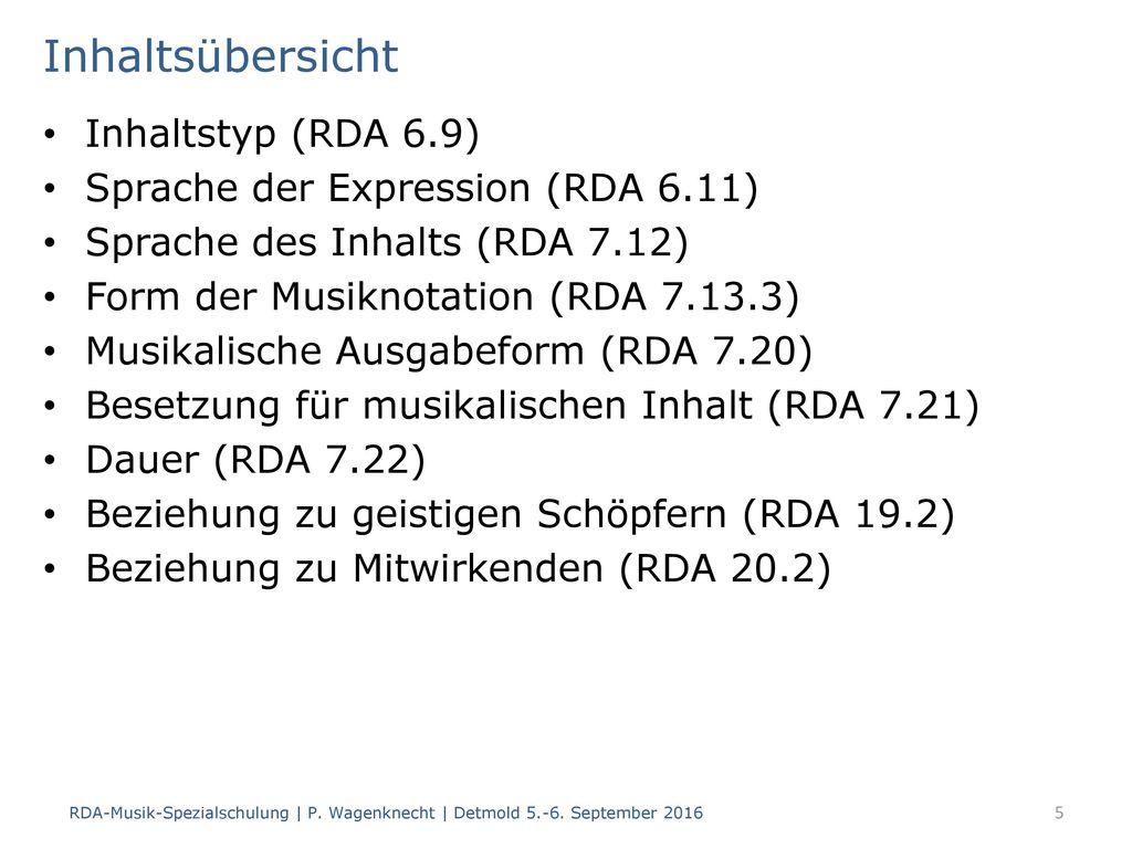 Inhaltsübersicht Inhaltstyp (RDA 6.9)