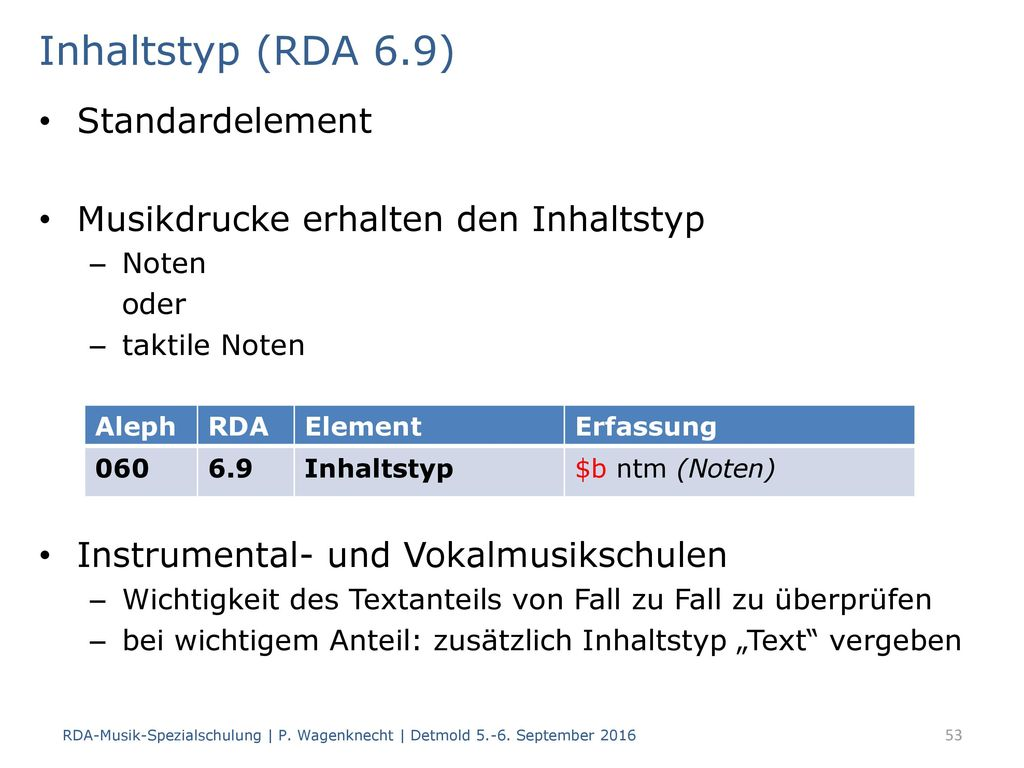 Inhaltstyp (RDA 6.9) Standardelement