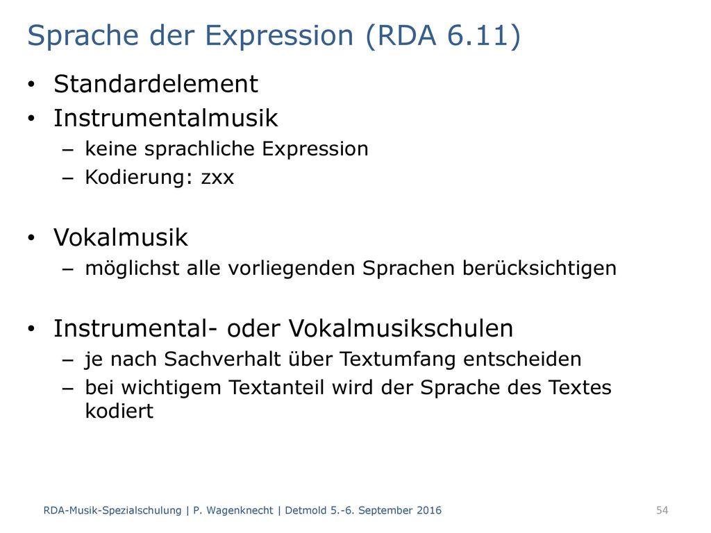 Sprache der Expression (RDA 6.11)