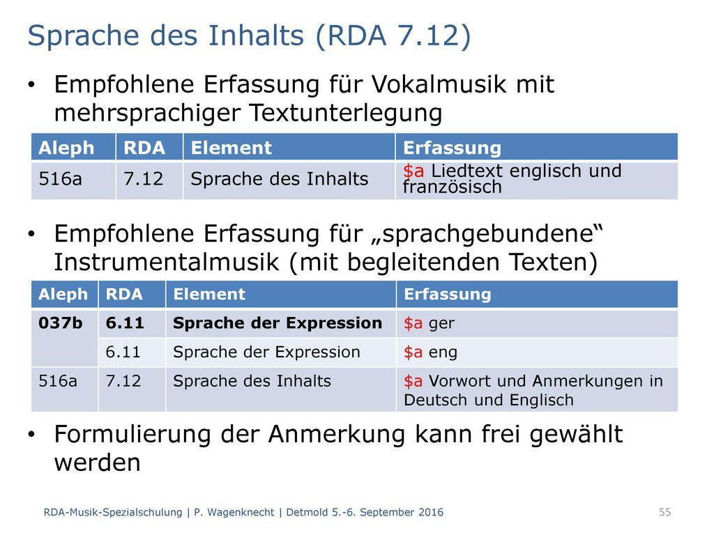 Sprache des Inhalts (RDA 7.12)