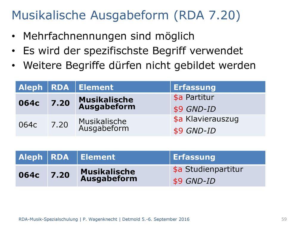 Musikalische Ausgabeform (RDA 7.20)