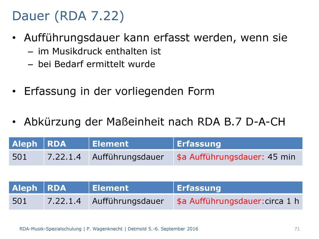 Dauer (RDA 7.22) Aufführungsdauer kann erfasst werden, wenn sie
