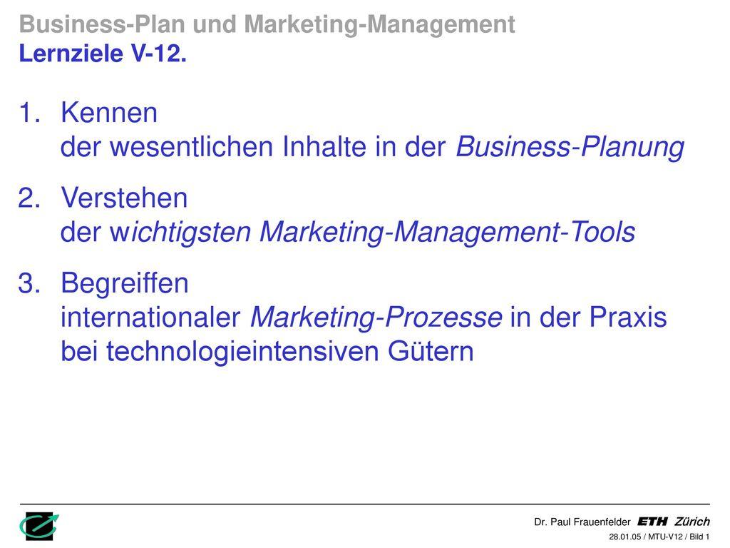 Kennen der wesentlichen Inhalte in der Business-Planung